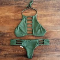 Sexy Opengewerkt Lage Taille Effen Kleur Halter Bikini Set