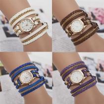 Retro Meerdere Lagen Gevlochten Horloge Band Bracelet Horloges