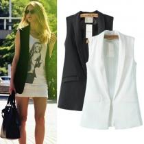 Mode Eenkleurig Mouwloos Vest