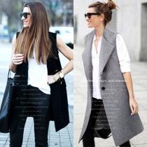 Mode Eenkleurig Mouwloos Lapel Slank Fit Vest