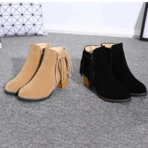 Mode Ronde Teen Dikke Hak Franjes Knight Booties Laarzen