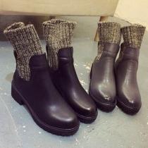Mode Gebreid Gespleten Rond Toe Dik Hak Enkel Boots Laarzen