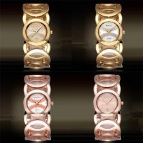 Mode Uitgehold Aluminium Armband Rond Wijzer Horloge