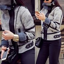 Mode Lange Mouw Revers Faux Suede Slank Passend Jacket