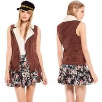 Mode Eenkleurig Revers Slank Passend Faux Suede Vest