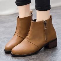 Mode Rond Teen Vierkant Hakken Enkel Boots Laarzen