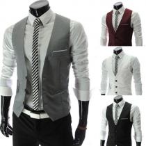 Mode Effen Kleur V-nek Een Rij Knoppen Heren Vest