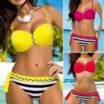 Sexy Gestreepte Gebonden Push-up Bikini
