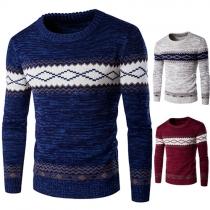 Trendy Contrasterende Kleur Bedrukt Ronde Nek Lange Mouwen Gebreide Sweater Heren