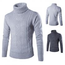 Modern Effen Kleur Lange Mouwen Rolkraag Heren Sweater