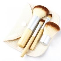 Professionele Schoonheid Originele Houthouder 4 Stuks Make-up Cosmetisch Borstelset