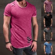 Casual Korte Mouwen Gescheurd Ontwerp Heren T-shirt