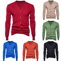 Moderne Gebreide Vest voor Heren in Effen Kleur met Lange Mouwen en V-hals