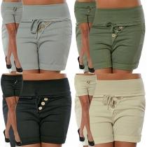 Moderne Shorts in Effen Kleur met Hoge Taille en Slanke Pasvorm
