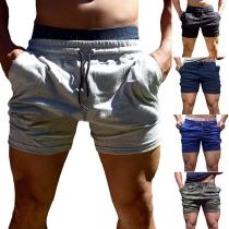 Moderne Sportshort voor Heren met Effen Kleur en Elastische Taille