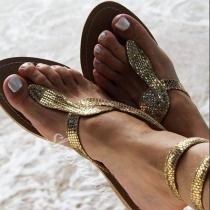 Moderne Sandalen met Platte Hakken en Slangendesign