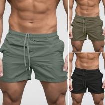 Moderne Strandshorts voor Heren met Effen Kleur en Elastische Taille