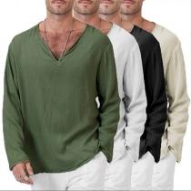 Modern Sweatshirt voor Heren met Lange Mouwen Effen Kleur en V-hals