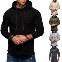 Moderne Hoodie voor Heren met Effen Kleur Lange Mouwen Slanke Pasvorm en Capuchon