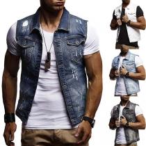 Modern Mouwloos Gerafeld Gilet Heren Vest met Zakken Revers en Knoppenlijst