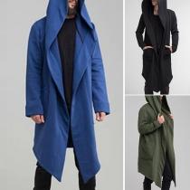 Modern Vest voor Heren met Effen Kleur Lange Mouwen en Capuchon