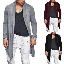 Modern Vest voor Heren met Effen Kleur Lange Mouwen en Onregelmatige Zoom