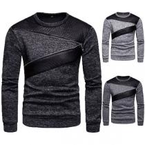 Moderne Sweater voor Heren met Contrasterende Kleuren Lange Mouwen en Ronde Hals