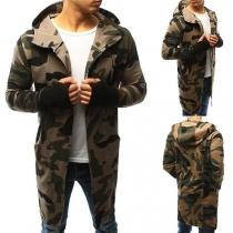 Modern Vest voor Heren met Camouflagepatroon Lange Mouwen en Capuchon