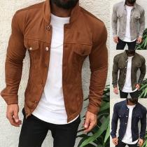 Moderne Dunne Vest  voor Heren met Effen Kleur Lange Mouwen en Opstaande Kraag