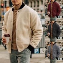 Moderne Dunne Pluchen Vest voor Heren met Contrasterende Kleuren Lange Mouwen en Opstaande Kraag