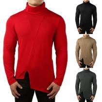 Moderne Sweater voor Heren met Effen Kleur Hoge hals Onregelmatige Zoom en Lange Mouwen