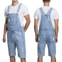 Moderne Tuinbroek voor Heren met Hoge Taille en Gescheurd Design