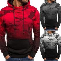 Moderne Hoodie voor Heren met Kleurverloop en Camouflagepatroon