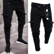 Moderne Jeans voor Heren met Slanke Pasvorm en Zijzakken
