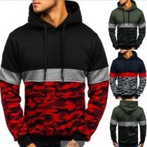 Hoodie voor Heren met Contrasterende Kleuren en Camouflagepatroon