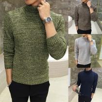 Moderne Sweater voor Heren met Effen Kleur Lange Mouwen en Rolkraag