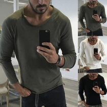 Eenvoudig Sweatshirt voor Heren met Lange Mouwen en Ronde Hals