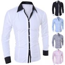 Overhemd voor Heren met Contrasterende Kleuren Polokraag en Lange Mouwen