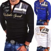 Modern Bedrukt Sweatshirt met Lange Mouwen en V-hals