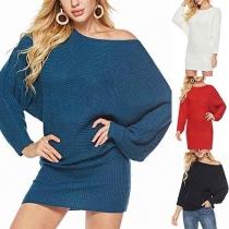 Moderne Sweater met Effen Kleur Pofmouwen en Ronde Hals