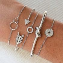 Modern Armbandset met Ingelegd Strass en Pijlvorm 5 Stuks/Set