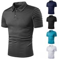 Modern T-shirt voor Heren met Effen Kleur Korte Mouwen en Polokraag