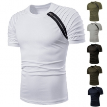 Modern T-shirt voor Heren met Korte Mouwen Ronde Hals en Rits
