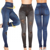 Sexy Uitgesneden Legging met Gescheurd Ontwerp Hoge Taille en Slanke Pasvorm
