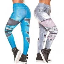 Moderne Chic Bedrukte Leggings met Hoge Taille en Slanke Pasvorm