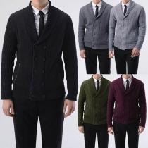 Modern Gebreide Vest voor Heren met Effen Kleur Lange Mouwen Dubbele Rij Knoppen