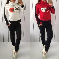 Modern Tweedelig Set met Contrasterende Kleuren bestaand uit een Sweatshirt + Broek