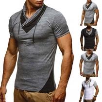 T-shirt voor Heren met Contrasterende Kleuren Korte Mouwen en Geplooide Kraag
