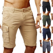 Modern Knielange Shorts voor Heren met Effen Kleur en Zijzakken
