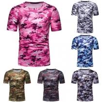 Modern T-shirt voor Heren met Ronde Hals Korte Mouwen en Camouflagepatroon